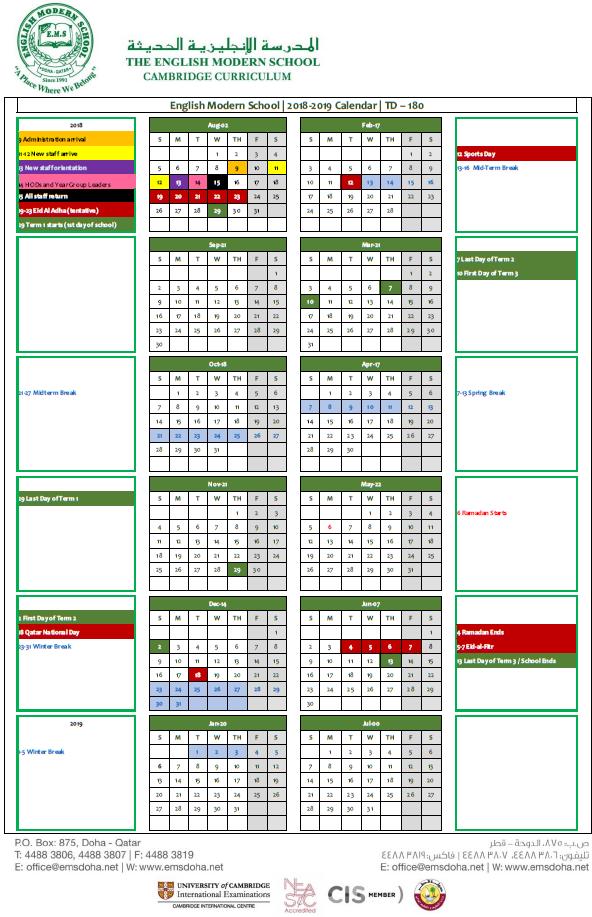 Academic Calendar 2018 2019 English Modern School Doha